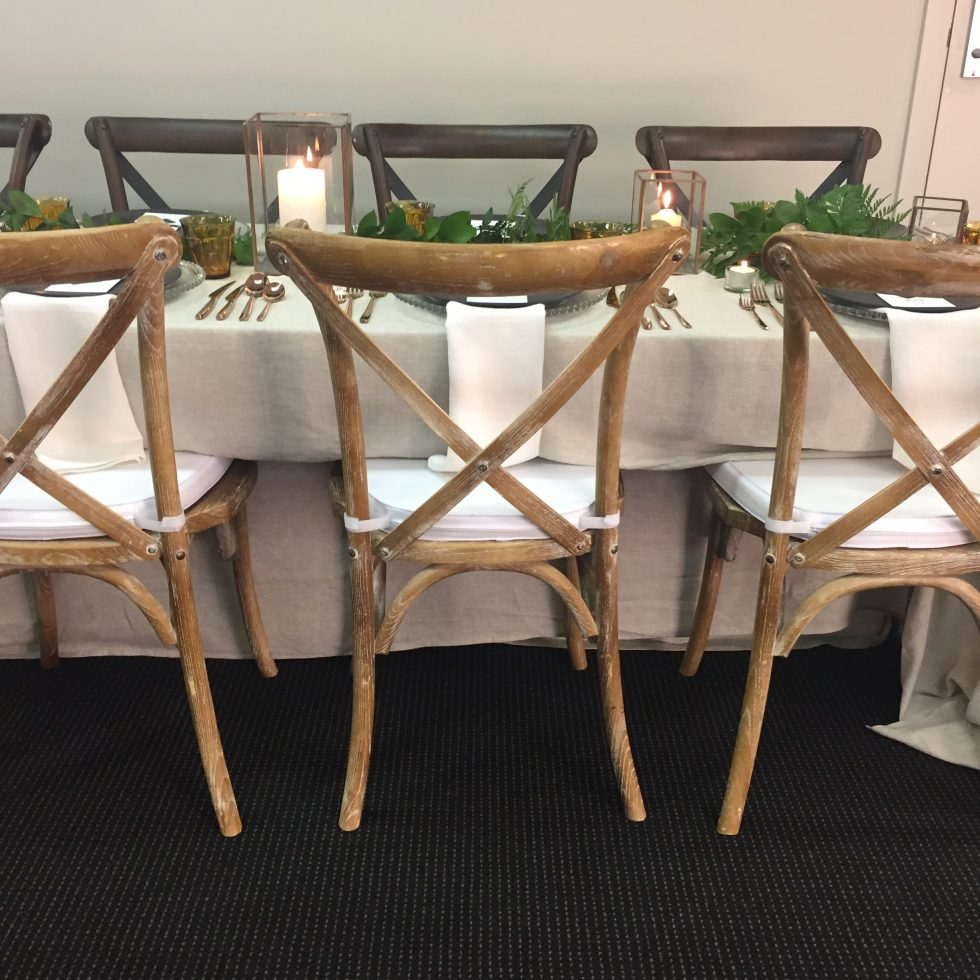 whitewash cross back chair hire nz