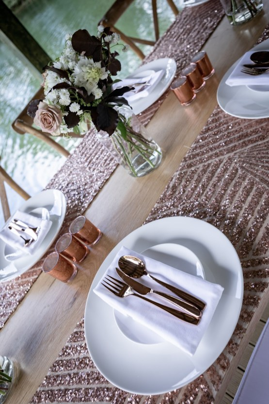 rose gold sequin table runner hire