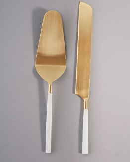 white and gold cake knife set hire nz