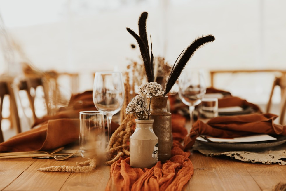 Aero Matte Gold Cutlery // Rust Napkins from The Pretty Prop Shop
