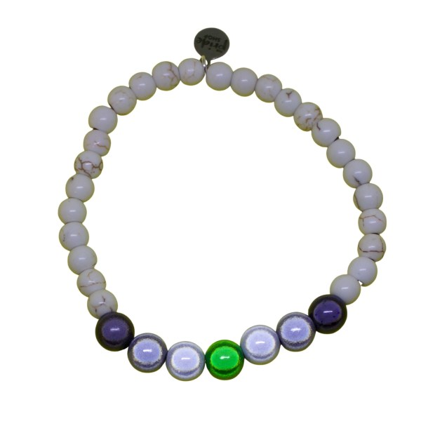 white stone bracelet with agender holographic set