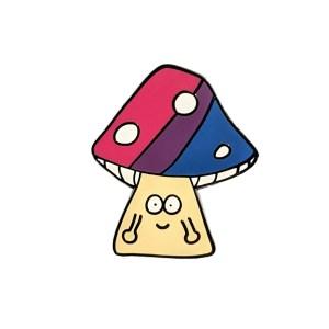 Bisexual Mushroom Pin Badge