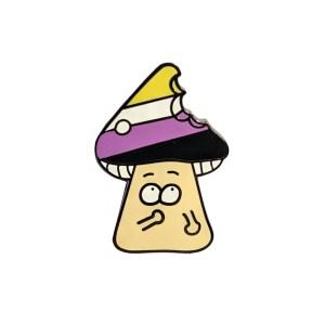 Non Binary Mushroom Pin Badge Back