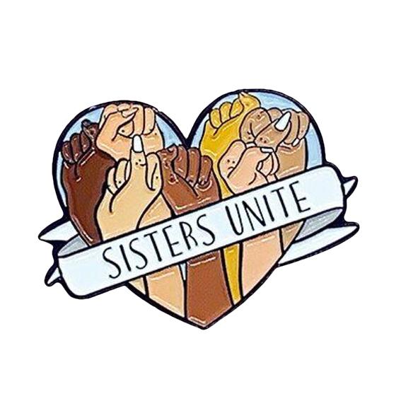 feminist sisters unite pin badge