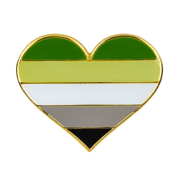 Aromantic Heart Pin Badge