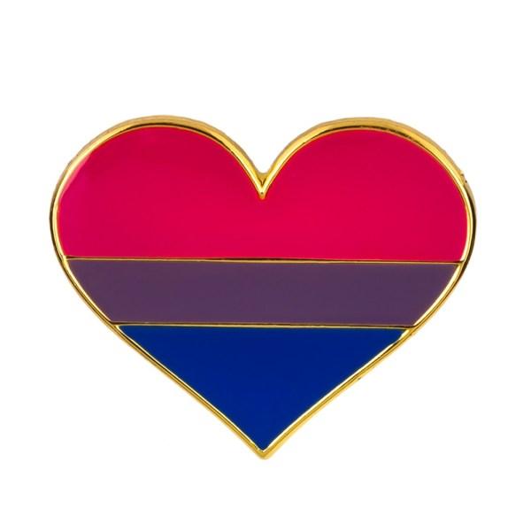 Bisexual Heart Pin Badge