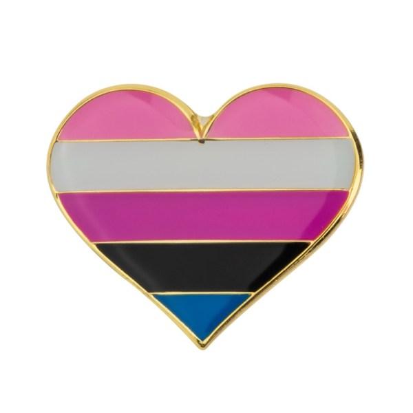 Gender Fluid Heart Pin Badge