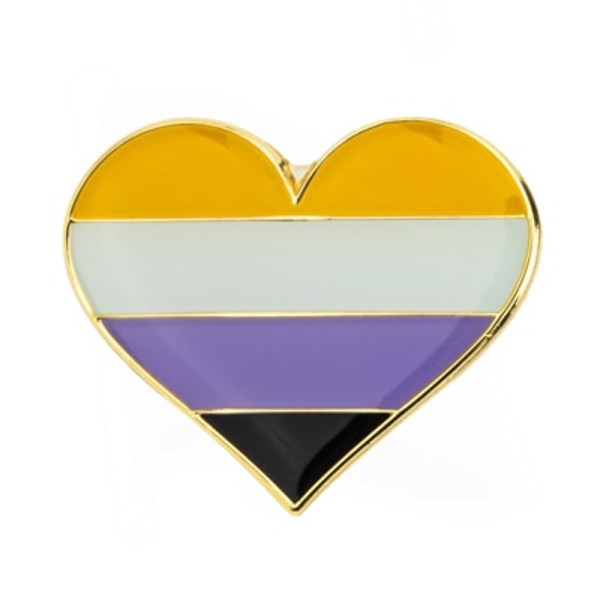 Non Binary Heart Pin Badge
