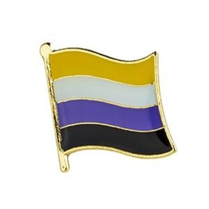 Non Binary Waving Flag Pin Badge