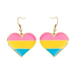 Pansexual Pride Flag Heart Shape Earrings