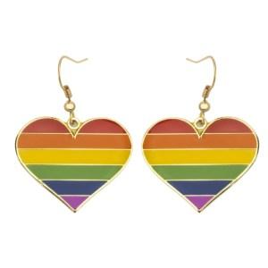 Rainbow Pride Flag Heart Shape Earrings