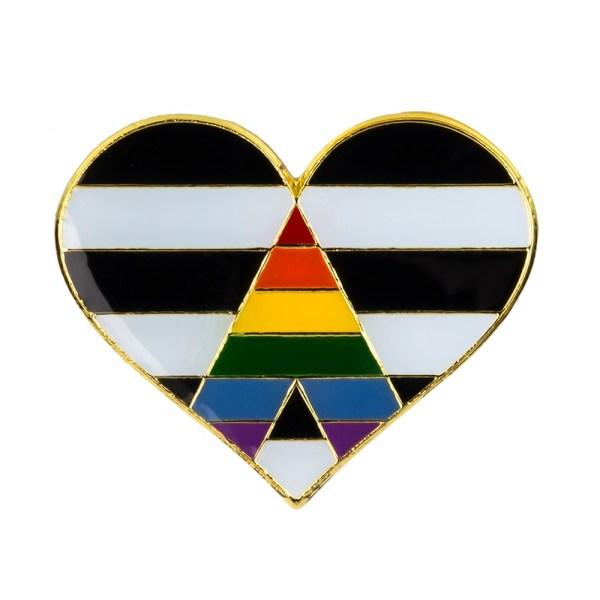 Straight Ally Heart Pin Badge