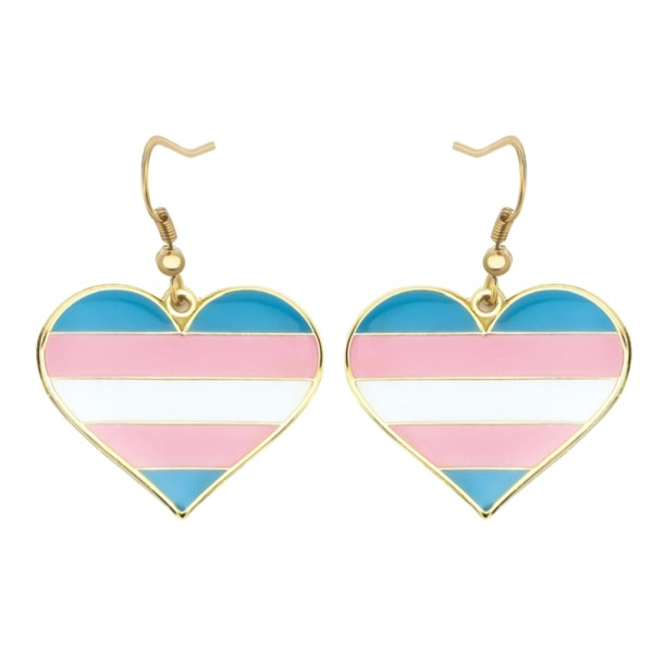 Transgender Pride FLag Heart Shape Earrings