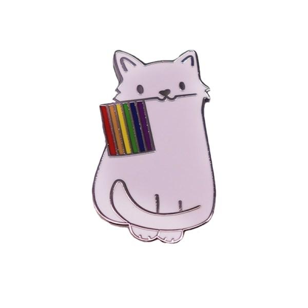 Rainbow Pride Cat Pin Badge