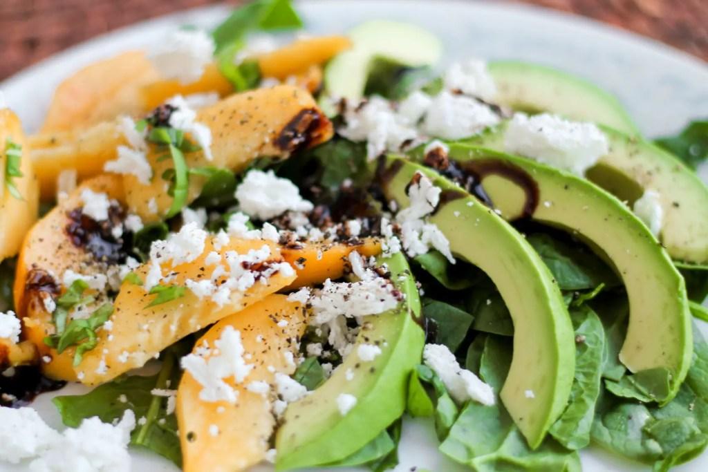 Avocado Peach Basil Spinach Salad