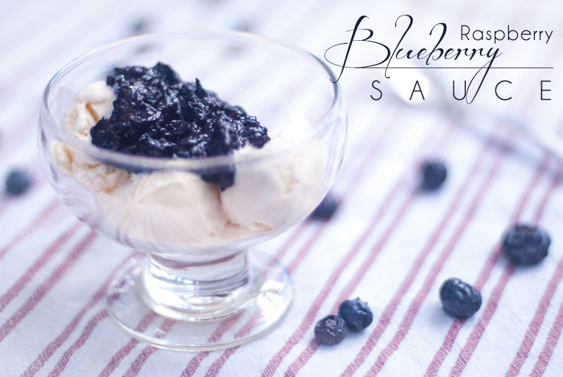 Blueberry Raspberry Sauce for Chicken, Pork, Ice Cream, etc - This Blueberry Raspberry Sauce is good on ALL OF THE THINGS, such as chicken, pork, ice cream, baked brie, turkey, waffles, etc. http://theprimaldesire.com/blueberry-raspberry-sauce-for-chicken-pork-ice-cream-etc