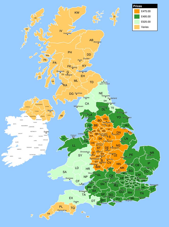 Postcode Map - Prices