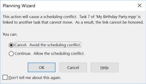 Planning Wizard conflict in schedule