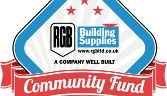 the logo of rbg community fund and diamond shape with a banner in front