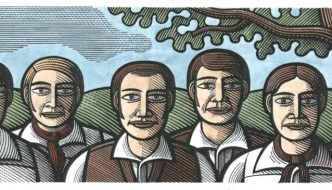 a woodcut type image in colour of the tolpuddle martyrs