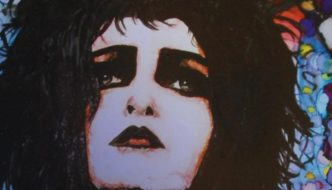 a close up of a drawing of a woman's face with strong make up and black hair
