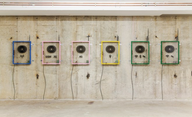 """nstallation view of """"Derek Frech: Counter Measures"""" at Interstate Projects, 2015. Frech's work jams radio, cellular, and Wi-Fi signals. COURTESY THE ARTIST AND INTERSTATE PROJECTS"""