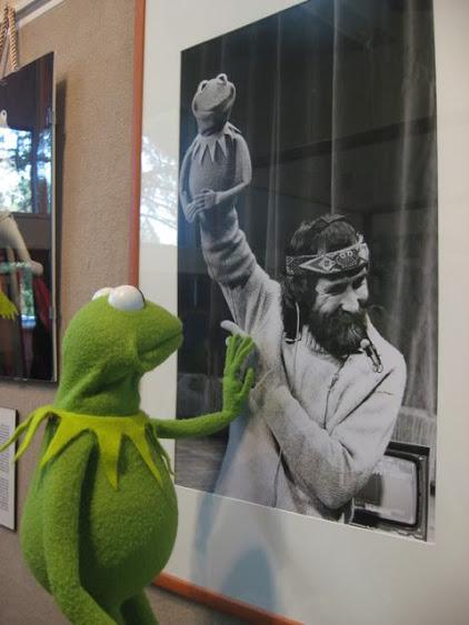 Kermit the frog watching his dad Jim Henson
