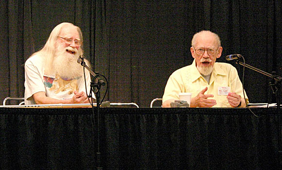 Guest of honor Phil Klass, right, who often wrote under the name William Tenn, provided an entertaining remembrance of the science fiction pulps. Pulpcon's Rusty Hevelin is at left.
