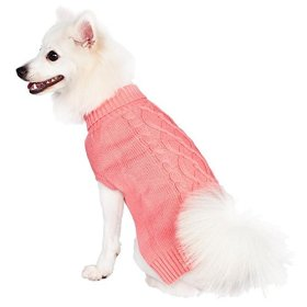 Blueberry Pet Clothes Sweatshirt For Dogs The Classy Cable Knit Rosy Pink Small Dog Sweater 10″ Back Length, Small