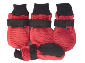 Lifeful® Large Dog Summer Soft Sole Nonslip Mesh Shoes, Breathable, Flexible And Cool, For Dog Daily Walks Or Stroll, Set of 4, Red Color, Size XX-Large-Inner Sole Width 3.15″