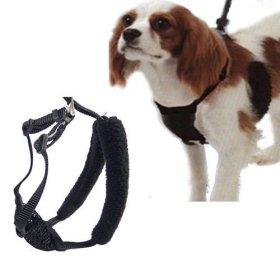 L/XL Black Anti-Pull Mesh Dog Harness Fits Necks 16″-26″