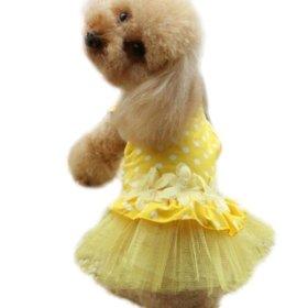 Urparcel Dog Lace Dress Pet Tutu Dress Skirt Yellow S