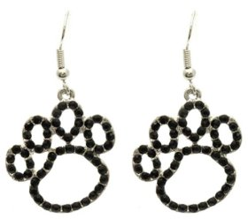 Gorgeous Puppy Dog Animal Paw Print Outline 1″ Charmswith Jet Black Crystals Earrings Silver Tone