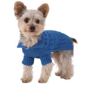 Size #10, Designer Pet Clothes, Royal Blue Dog Aran Sweater