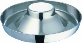Indipets Extra Heavy Stainless Steel Puppy Saucer with Raised Center 15-Inch Diameter