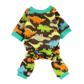 FurBaby Adorable Dinosaur Velvet Dog Pajamas for Pet Cat Clothes Coat Soft Warm Pjs, Large