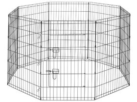 Premium 8-Panel Black Dog Exercise Play Pen with Door and Carry Bag – 48″ Tall