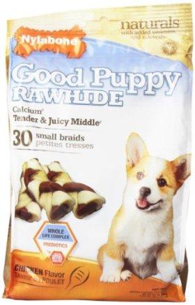 Nylabone Enhanced Rawhide Toro Braid Puppy Treats, Chicken, 30 Count