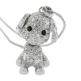 Silver Tone White Multicolor Crystals Puppy Dog Womens Girls Pendant Necklace with Chain