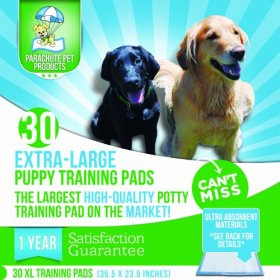 Puppy Potty Training Pee Pads Extra Large – 1 Year Satisfaction Guarantee. Train Your Dog With 30 XL (35.5″ x 23.5″) Leak Proof Pee Pads With Premium Absorbent Materials – Highest Quality Housebreaking Aid For Dogs! By Parachute Pet Products. Try Risk Free!