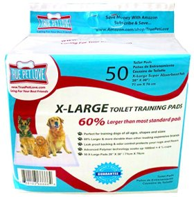 50 EXTRA LARGE 28″ X 30″ Wee Wee Pads, Puppy Training Housebreaking Potty Toilet Pads For All Dog Breeds. 60% Larger, Absorbs Up To 6 Cups of Fluid! Super Absorbent Vet & Pet Store Quality. True Pet Love Satisfaction Guaranteed Buy 1 Pack Or Subscribe and Save Money Buy Now!