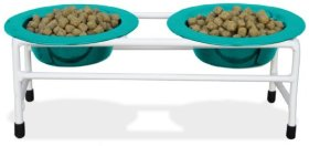 Platinum Pets White Modern Double Diner Cat/Puppy Stand with Two 1 Cup Rimmed Bowls, Teal
