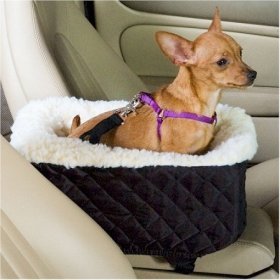 Snoozer Pet Dog Cat Puppy Outdoor Console Lookout Car UV Secure Safety Travel Seat Small Grey Quilt