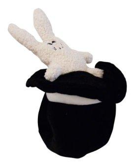 Loopies Black and White Bunny Hat Medium 8″