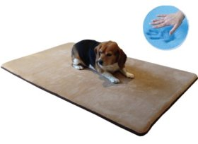 Durable Washable Memory Foam Coral Fleece Waterproof Pet Dog Bed Mat pillow Topper XXLarge 54″X37″ crate size