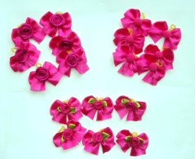 30 Dog Hair Bows – Hot Pink Satin Bows with Flower/Rose/Pom – Groomer's Choice Handmade