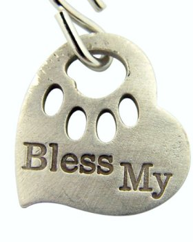 Paw Print Bless My Pet Heart Shape Dog Cat Animal Collar 1 Inch Silver Plate Pendant Tag Medal