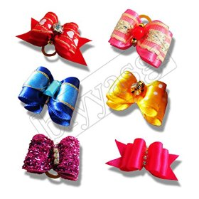 10 Pieces Dog Puppy Cute Rubber Band Hair Bow for Head Grooming