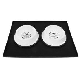 Platinum Pets Heavy-Duty Silicone Feeding Puppy Mat with 2 6-Ounce Embossed Puppy Bowls, White