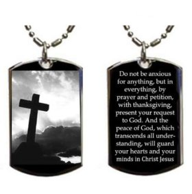 Christian Jesus Christ Cross Philippians 4:6-7 Pendant Double Sided Logo – Military Dog Tag, Luggage Tag Metal Chain Necklace